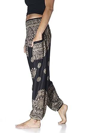 Tori Wear Harem Pants Smocked Elastic Waist Hippie Pants,Black 1,One Size,Black 1,One Size,Black 1,One Size,Black 1,One Size