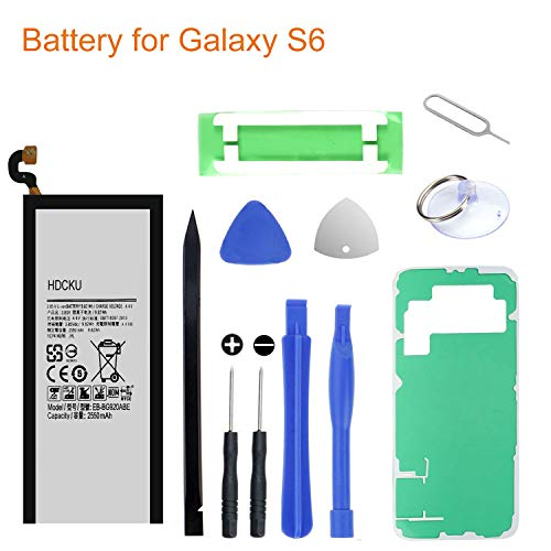 HDCKU Battery Replacement Kit for Samsung Galaxy S6 G920A G920P G920T G920V EB-BG920ABE With Battery Adhesive,Back Cover Adhesive,Repair Tools(12 Month Warranty) by HDCKU