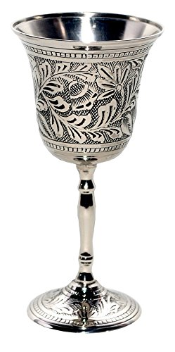 - Premium Quality Silver-Nickel Plated - Antiqued Wine Goblet/Kiddush Cup/Chalice - by Alchemade