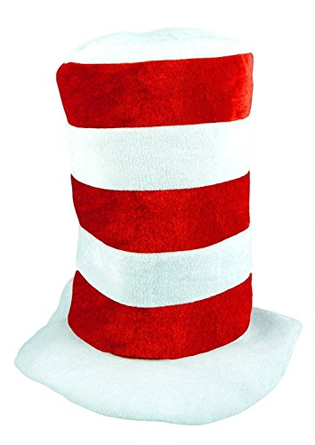 Rimi Hanger Childs Tall Red & White Striped Hat Dr Seuss Book Week Hat Fancy Dress Accessory One Size