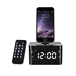 OOLIFENG Alarm Clock Radio, Wireless Bluetooth Speaker, Digital Alarm Clock USB Charger for Bedroom AUX-in and Cell Phone Stand/Snooze, Black