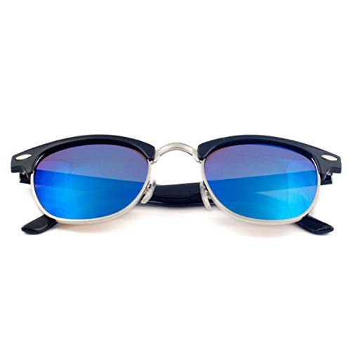Goson Sunglasses Color Mirror Wayfarer with Microfiber Pouch 2A Revo Sapphire Blue