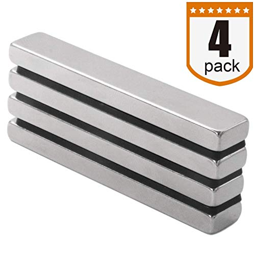 Four Piece DIYMAG Super Strong Rectangular Block Neodymium Magnets, DIY, Building, Scientific, Craft, and Office NdFeB Permanent Neodymium Magnets - 60 x 10 x 5 mm