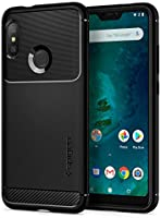spigen, Funda para Xiaomi Mi A2 Lite 2018, [Rugged Armor] Absorción de Choque Resistente y diseño de Fibra de Carbono [Compatible con Carga Inalámbrica] - [Negro Mate]