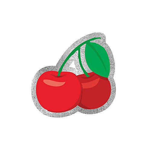 Tattoo Cherry (Emoji Cherry set of 25 premium waterproof metallic sliver, green and red temporary Valentine's Day inspired jewelry foil Flash Tats - emoji party favors, party supplies)