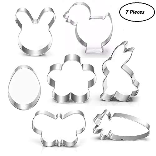 Easter Cookie Cutter Set - 7 piece - Egg, Carrot, Bunny, Flower, Chick, Bunny Face and Butterfly