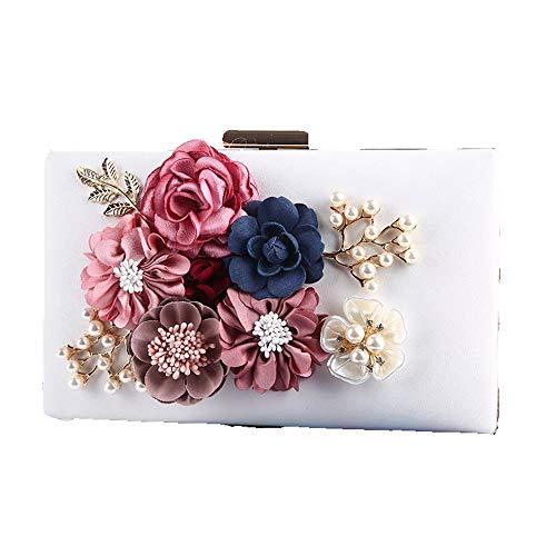 Élégant Mariage Bandoulière En Main 3d De Sac Sacs Chaîne Cuir Femmes Pour Blanc Avec Floral Pochette Bal Femme À Pu Soirée Fête 8wqRwE
