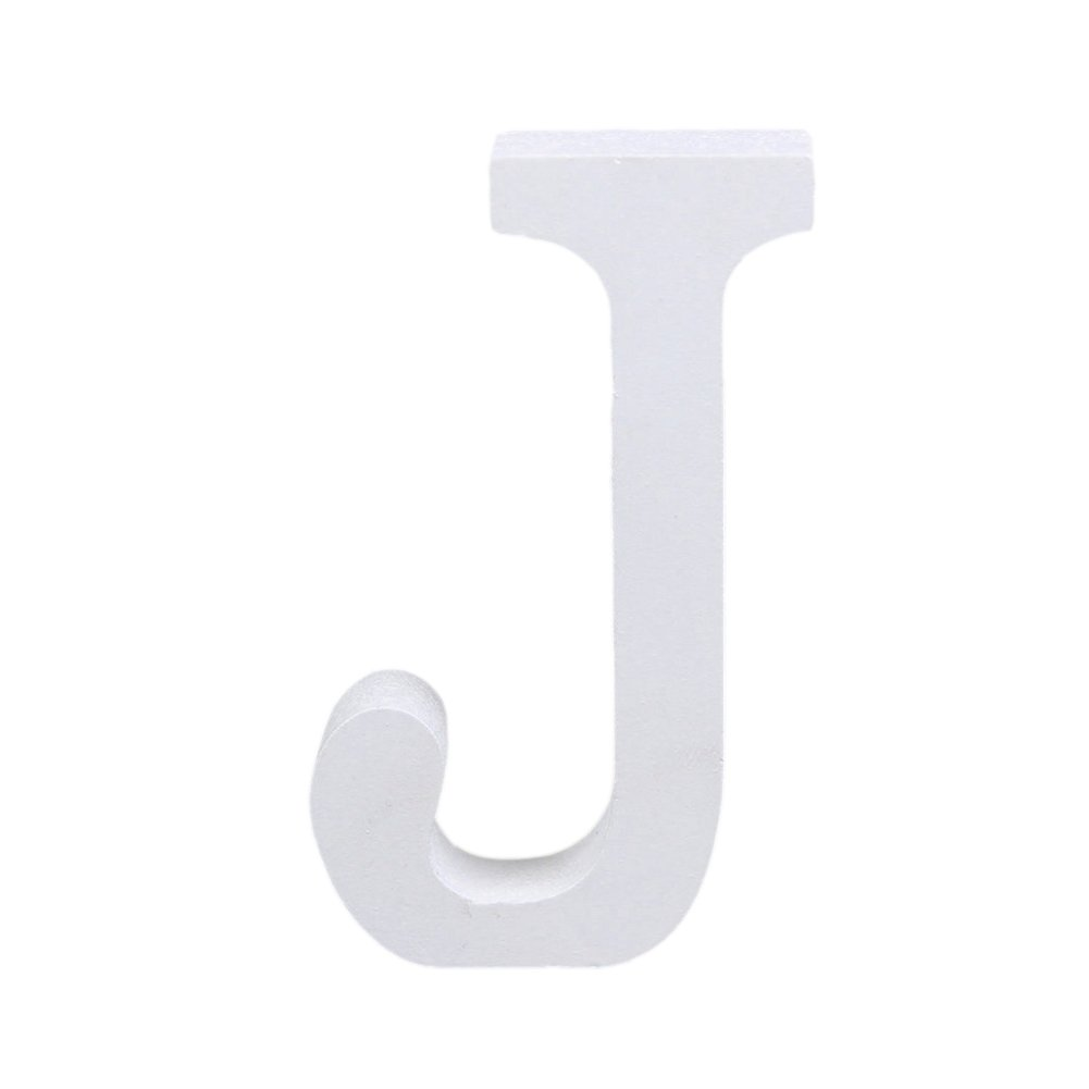 CHIC*MALL English Letter Ornaments Modern White Wood Home Wedding Decoration (J)