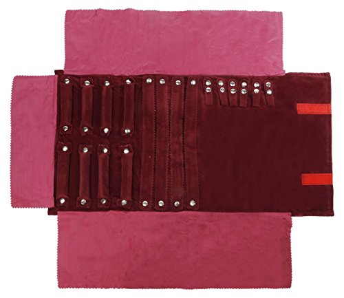 WODISON Suede Jewelry Roll up Bag Rolling Ring Necklace Earring Organizer for Travel Claret by WODISON (Image #1)