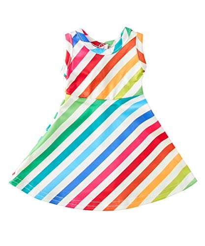 (Uideazone Doll Matching Dresses Sleeveless Rainbow Stripes Clothes Outfits Fits 18