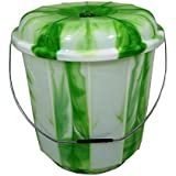 13L / 16L / 20L Lidded Plastic Bucket With Carry Handle Ideal for Storage / Container / Tub / Caddy / Grain / Flour / Seed / Animal Feed (13L, Green) by S&MC Gardenware