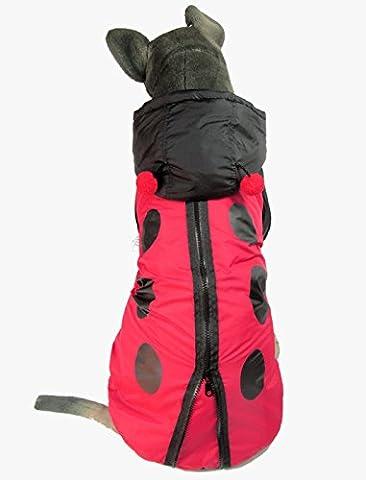 Evergreens Ladybug Style Pet Dogs Coat for Medium Large Dog (XXL for body 17.7