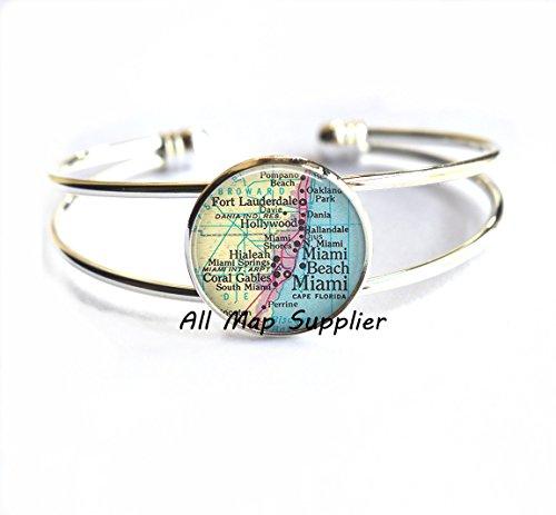 Charming Bracelet,Miami map Bracelets, Miami Bracelets, Ft Lauderdale, Miami Beach, Hialeah, Coral Gables, Miami map - Stores Gables Coral