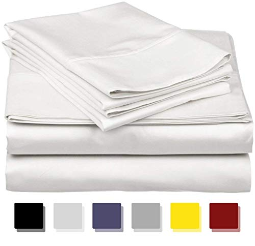 Exotica Collection - The Exotica Collection Mega Sale on Amazon Queen Size Sheets Luxury Soft 600-TC Egyptian Cotton - Sheet Set for Queen Size (60x80) Mattress Fits 10-12 Inches Fully Elastic Deep Pocket (Solid, White)
