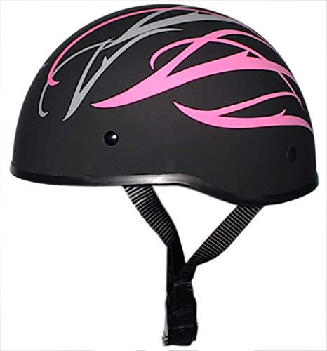 Dot Pink Motorcycle (Bikerhelmets.com - Pink Graphics - SOA Inspired Motorcycle Helmet - DOT Approved Ultra Low Profile Beanie - Pink and Flat Black No Peak - Large)