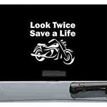 Look Twice Save a Life Motorcycle Vinyl Decal Sticker