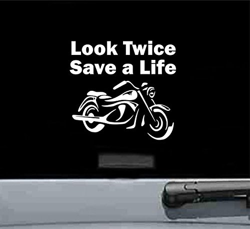 Look Twice Save a Life Motorcycle Vinyl Decal Sticker - Watch Out For Motorcycles Sticker