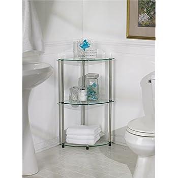Convenience Concepts Designs2Go Go-Accsense 3-Tier Glass Corner Shelf, Clear Glass