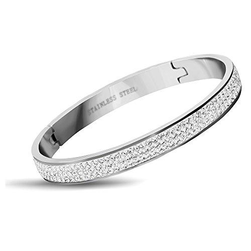 VQYSKO Stainless Steel Rhinestone Crystal Wedding Bridal Bracelets for Women (Silver) ()