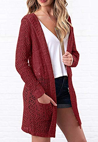 Eleter Women's Cardigan Sweater Open Front Hollow Out Crochet Knitted Hooded Coat Pockets(S,Wine Red) by Eleter (Image #2)