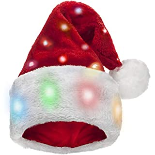 Funny Santa Hat with 20 Blinking Color-Changing Light up LED Lights - Soft Plush Faux Fur for Adults and Kids