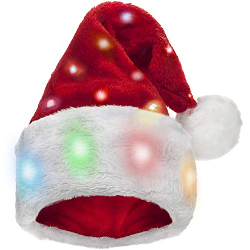 Small Santa Hats (Funny Light Up Santa Hat for Adults [1 Pack] with 20 Blinking Color-Changing Light up LED Lights - Soft Plush Faux Fur for Light up Christmas Hat for Adults and)