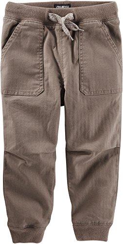 Pork Chop Pocket (Oshkosh Boy's Pork Chop Pockets, Knit Waistband & Cuffs, Brown Twill Joggers (7) (7))