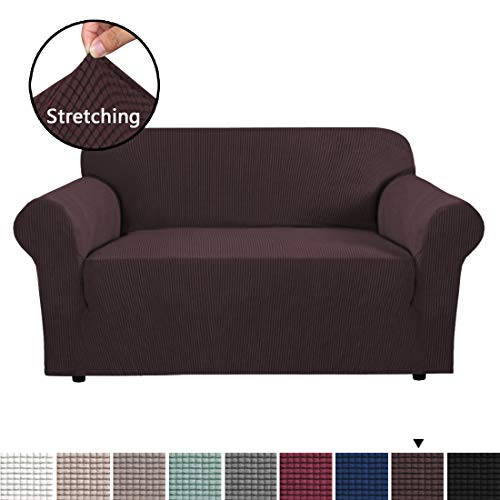 - H.VERSAILTEX High Stretch 1 Piece Jacquard Lycra Loveseat Sofa Cover/Slipcover Soft Spandex Form Fit Slip Resistant Stylish Furniture Protector Coach Covers Machine Washable, Sofa 2 Seater, Chocolate