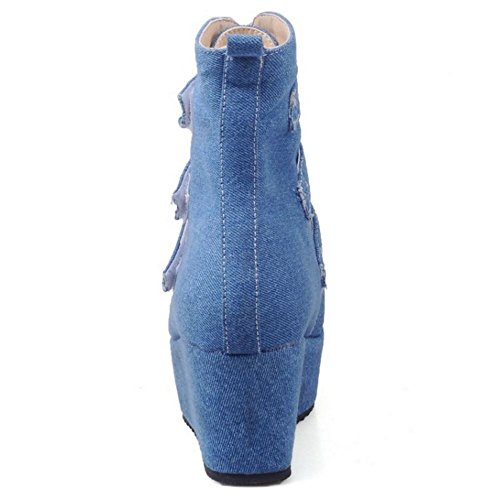 RAZAMAZA Velcro Blue Women Boots Fashion Hqn7wrxZH4