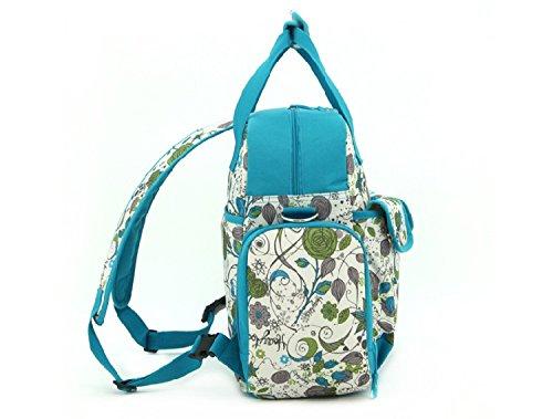 Multifunción bolsas de lunares bolso para pañales cambiador de bebé bolsa de transporte de bolso de mano Juegos Mummy de mayor capacidad Bolsa de hombro mochila (3Formas, verde (Azul) - ZLNBK01 Verde