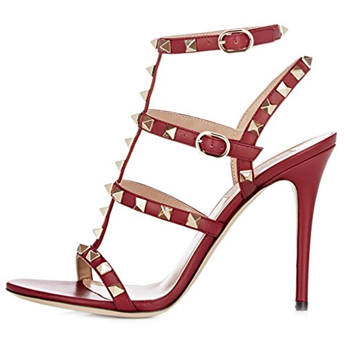 Comfity Heeled Sandals for Women,Strappy Gladiator Shoes Slingback Stiletto Heels Dress Party Wedding Sandals Red