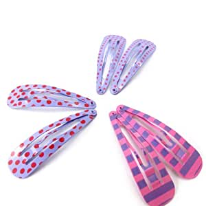 Set 6 hair-clip 'Coloriage' pink purple (5 cm (0.00'') ).