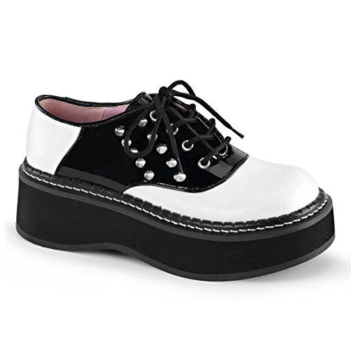 Zapatillas Demonia Mujeres Emily-303 2 Zapato De Plataforma Con 5 Ojetes Zapato De Silla De Montar Con Puntas Laterales Cuero Vegano Blanco / Negro