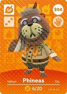 Phineas- Nintendo Animal Crossing Happy Home Designer Amiibo Card -304