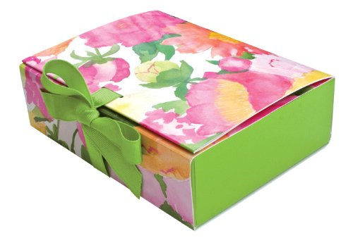 Entertaining with Caspari Paper Gift Boxes, 6-1/2 by 5 by 2-Inch, Peonies (Peony Box)