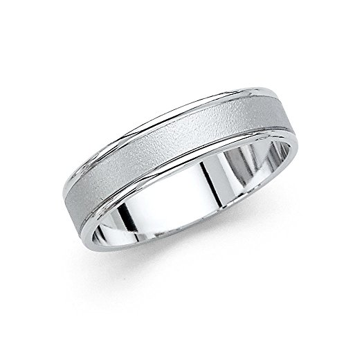 Plain Band Solid 14k White Gold Wedding Ring Sand & Polished Finish Classic Style Men Women 5 mm Size 10.5 by ZenJewels