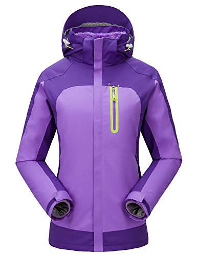 Women's Rain Waterproof Winter Jacket Sports Snow Ski Outdoor Coat Purple Medium