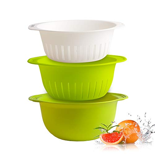- zova Stackable Large Kitchen Colander Deep Bowl Strainer for Kitchen with Handles, White & Green