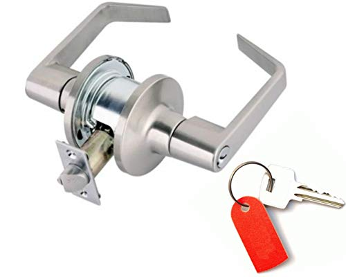 Lever Lock Commercial Grade II::Keyed Alike Cylinders On Both Sides By Toledo::Double Cylinder Communicating Function::Anti-Pick Schlage Keyway::Stainless Steel (Function Cylinder Lock)