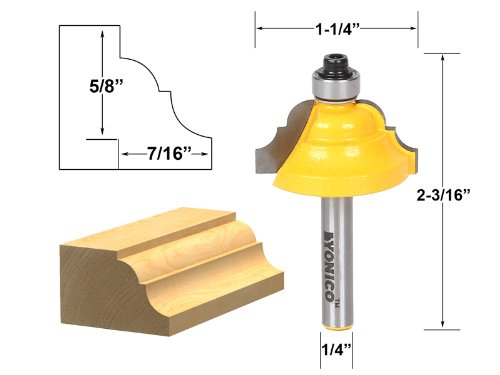 Yonico 13123q Double Roman Ogee Edging Router Bit with Mediu