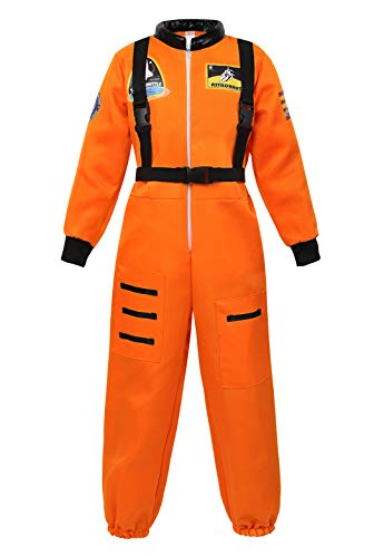 Children's Astronaut Costume Jumpsuit Dress up Role Play Costume for Kids Boys Girls Pretend Play Spaceman Suit Set Orange-M