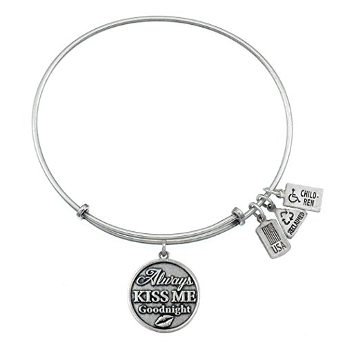 Wind & Fire toujours Kiss Me Goodnight Finition argent Charm Bracelet