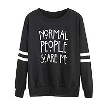 Normal People Scare Me ANMIEN Women's Hoodie Hooded Sweater Blouse Sweatshirt Pullovers Tops (XXL)
