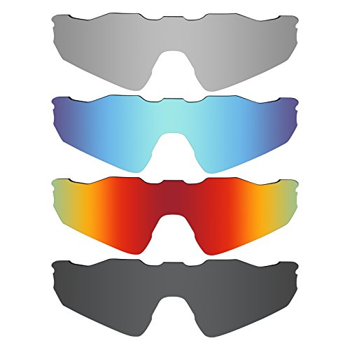 Mryok 4 Pair Polarized Replacement Lenses for Oakley Radar EV Path Sunglass - Stealth Black/Fire Red/Ice Blue/Silver - Radar Lenses