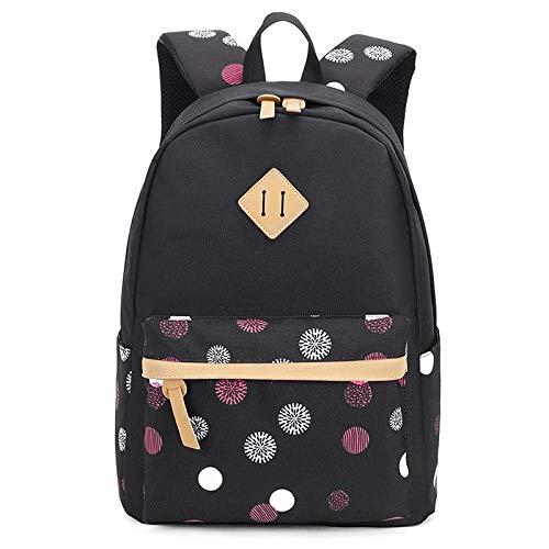 LuckyZ Women School Backpack Lightweight Canvas Daykpack Laptop School Bag Cute Snowflake Travel Shoulder Bookbags Black Spot]()