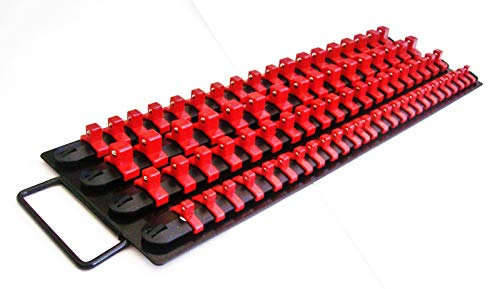 240pc SOCKET STORAGE TRAY RAIL RACK HOLDER SET 1/4 3/8 1/2 RED BLACK BLUE 17-1/2'' LONG 3 TOTAL TRAYS 6'' WIDE by shueysales (Image #4)