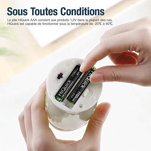 HiQuick Piles Rechargeables AAA, Ni-MH 1100mAh 1,2V 8PCS, Accu de Haute Capacité avec Une Décharge Constante, AAA Micro LR03, Plus de 1200 Cycles, Batteries Rechargeables AAA avec Boîte à Piles