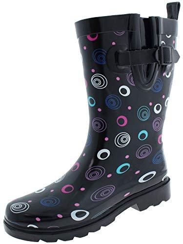 Capelli New York Ladies Shiny Multi Swirls Printed Mid Calf Rain Boots Black Combo 6