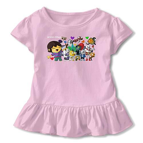 Kinggo Girls Undertale Stamp Short Sleeve Corrugated Edge T Shirt Petticoat Pink 2T