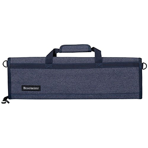 Messermeister 8 Pocket Denim Knife Storage Roll/Bag/Luggage - Blue (Denim Del Forte)